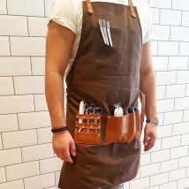 Barber Pro Waxed Canvas Barber Apron, Chocolate Brown