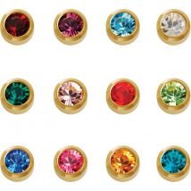 Caflon Gold Plated Assorted Birthstone Earrings, Regular (12)