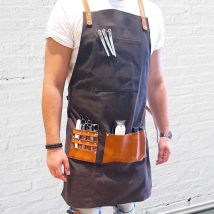 Barber Pro Waxed Canvas Barber Apron, Dark Charcoal