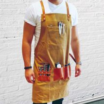 Barber Pro Waxed Canvas Barber Apron, Desert Sand