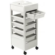 REM Studio Trolley with Accessory Top Tray, White