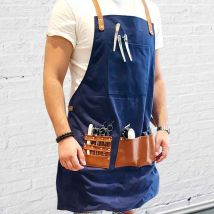Barber Pro Waxed Canvas Barber Apron, Denim Blue