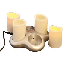 4 Set Amber Flame Rechargeable Candle Set